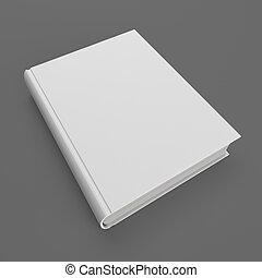 ブランク, 白, ハードカバーの 本, 隔離された, 上に, 灰色, バックグラウンド。