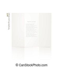 ブランク, 白, ペーパー, brochure.