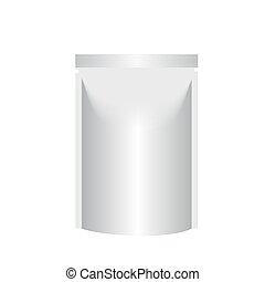 ブランク, 立ち上がりなさい, 袋, ホイル, ∥あるいは∥, プラスチック, 包装, ∥で∥, zipper., 袋, template., 袋, template., 包装, 箱, 白, バックグラウンド。, ベクトル, illustration.