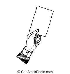 ブランク, 紙カード, 縦, 手
