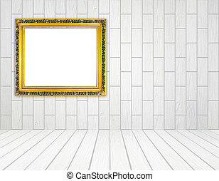 ブランク, 金, フレーム, 中に, 部屋, ∥で∥, 白, 木, 壁, (block, style), ∥