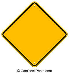 ブランク, 隔離された, 黄色の符号