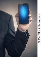 ブランク, smartphone, ディスプレイ, 人, 習慣