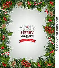 ブランチ, クリスマス, 背景, モミ