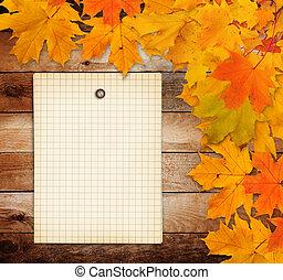 ブランチ, グランジ, ペーパー, 葉, 古い, 背景, 木製である, かえで, 秋