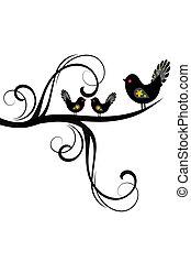 ブランチ, シルエット, 鳥