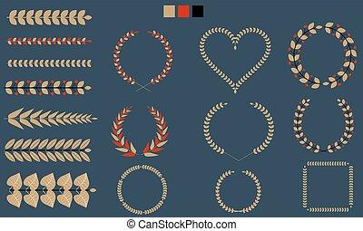 ブランチ, セット, 葉, illustration., 平ら, tricolor., ベクトル, 花輪