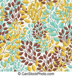 ブランチ, パターン, 自然, seamless, leaves.