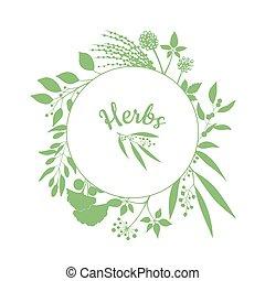 ブランチ, フレーム, 隔離された, コレクション, emblem., ハーブ, 緑の背景, 新たに, シルエット, 白, plants., ラウンド, 店