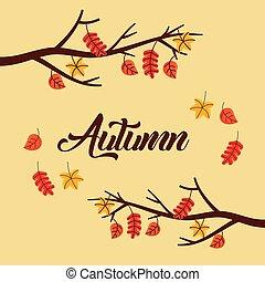 ブランチ, ポスター, 葉, 木, 秋の群葉, テキスト