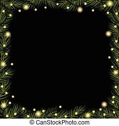 ブランチ, ライト, (fir), バックグラウンド。, 黒, トウヒ, ボーダー, クリスマス