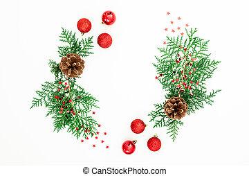 ブランチ, 平ら, 松, 杖, キャンデー, 白, 位置, フレーム, 装飾, ボール, 赤, バックグラウンド。, クリスマス