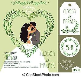 ブランチ, 心, 花婿, 結婚式, 花嫁, 接吻, invitation., 緑