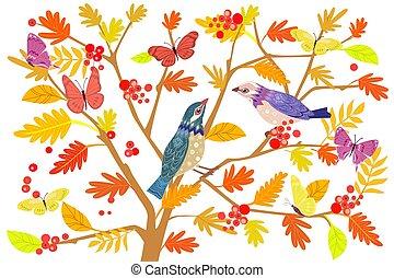 ブランチ, 恋人, 木, 鳥, ナナカマド, デザイン, あなたの, 幸せ