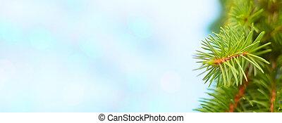 ブランチ, 旗, 背景, クリスマスツリー, 青