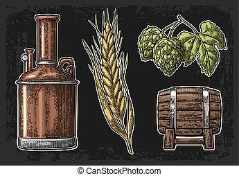 ブランチ, 木製である, 葉, タンク, 大麦, ホツプ, 耳, barrel., 横列