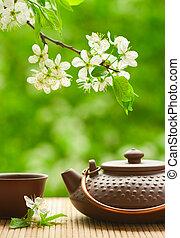 ブランチ, 木, セラミック, 花が咲く, ティーポット