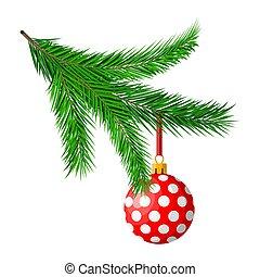 ブランチ, 木, 掛かること, きらめき, クリスマス, ball.