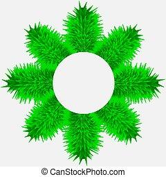ブランチ, 木, 背景, 白, 旗, クリスマス, 円