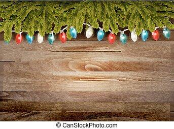 ブランチ, 背景, 木製である, クリスマス, ベクトル, garland.