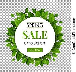 ブランチ, 自然, 春, セール, 緑の背景, テキスト