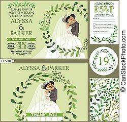 ブランチ, 花輪, 花婿, 結婚式, 花嫁, 接吻, invitation., 緑