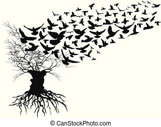 ブランチ, 離れて, 飛行, 木, 死んだ, 鳥