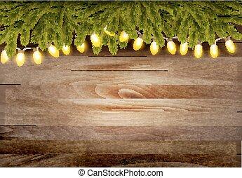 ブランチ, garland., 木製である, ベクトル, 背景, クリスマス