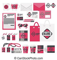 ブランド, アイデンティティー, 項目, そして, acessory, ベクトル, セット