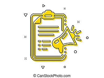 ブランド, メガホン, ambassador., ベクトル, 広告, 装置, icon., 印。, チェックリスト