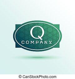 ブランド, ラベル, q, デザイン, 手紙, ロゴ, あなたの