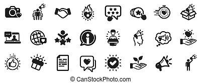 ブランド, 人々, メガホン, 大使, icons., ベクトル, 影響, representative.
