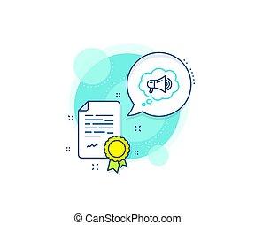 ブランド, bubble., メガホン, 大使, 線, 広告, ベクトル, 装置, icon., 印。, スピーチ