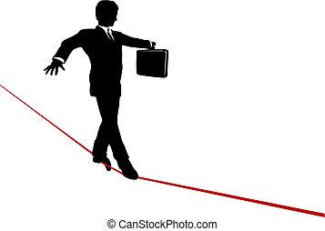 ブリーフケース, ビジネス, バランス, 高く, 綱, 歩く, 危険, 人
