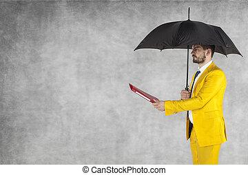 ブリーフケース, 傘, スペース, 下に, ビジネスマン, コピー, 与える