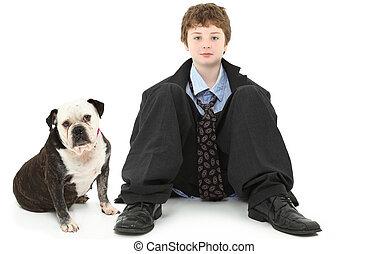 ブルドッグ, 男の子, スーツ, だぶだぶである
