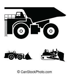 ブルドーザー, トラック, シンボル, ゴミ捨て場