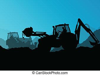 ブルドーザー, 産業, 堀る, 掘削機, 労働者, サイト, イラスト, トラクター, ベクトル, 背景, 建設, ...