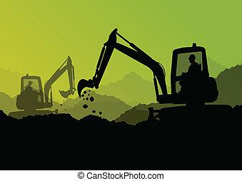 ブルドーザー, 産業, 堀る, 掘削機, 労働者, サイト, イラスト, トラクター, ベクトル, 背景, 建設, ローダー