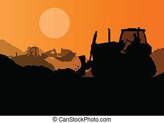 ブルドーザー, 産業, 掘削機, サイト, イラスト, 積込み機, ベクトル, 背景, 建設