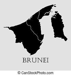 ブルネイ, 地図, -, イラスト, ベクトル, 黒