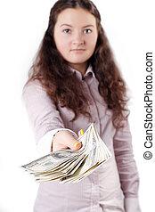 ブルネット, お金を与えること, かなり, 肖像画, 女の子