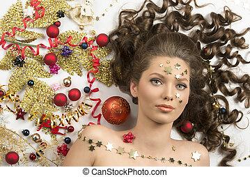 ブルネット, クローズアップ, 女の子, 肖像画, クリスマス