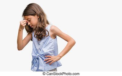 ブルネット, ヒスパニック, 女の子, 疲れた, 摩擦, 鼻, そして, 目, 感じ, 疲労, そして, headache., ストレス, そして, 欲求不満, concept.