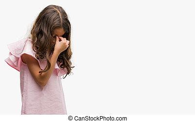 ブルネット, ヒスパニック, 女の子, 身に着けていること, ピンクのドレス, 疲れた, 摩擦, 鼻, そして, 目, 感じ, 疲労, そして, headache., ストレス, そして, 欲求不満, concept.