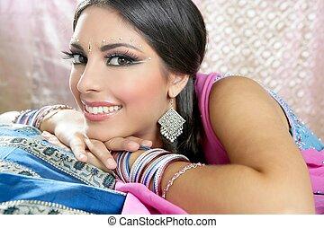ブルネット, 伝統的である, indian, スタイル, 美しい, ファッション