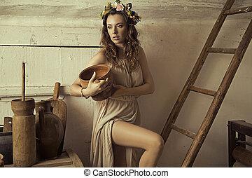 ブルネット, 原料, 田園, 魅力的, 女