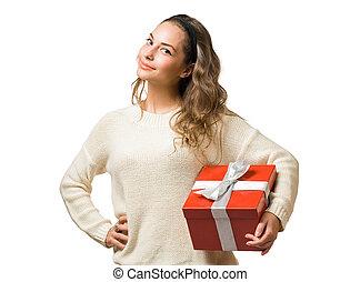 ブルネット, 味方, 贈り物の箱, 赤