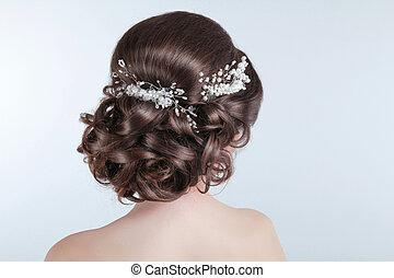 ブルネット, 女の子, 毛, 美しさ, 結婚式, hairstyle., bride., 巻き毛, スタイルを作ること, barrette.