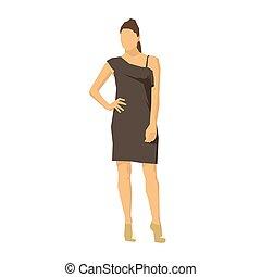 ブルネット, 幾何学的なデザイン, ベクトル, 女性実業家, 服, 地位, 平ら, イラスト, ブラウン